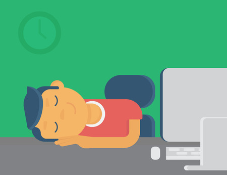 late: Lazy guy sleeping at workplace. Flat illustration
