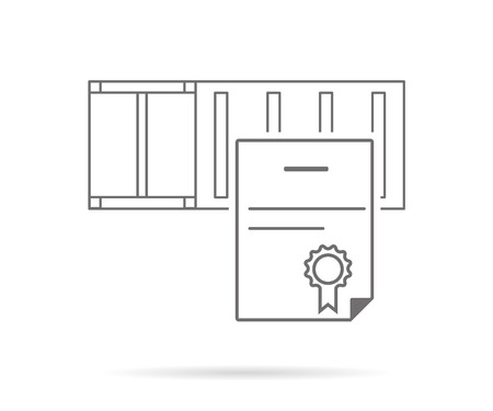 portage: Certificate for shipping container. Contour icon isolated on white Illustration