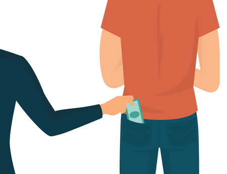 pocket: Pickpocket flat illustration isolated on white. Human hand takes money cash from pocket