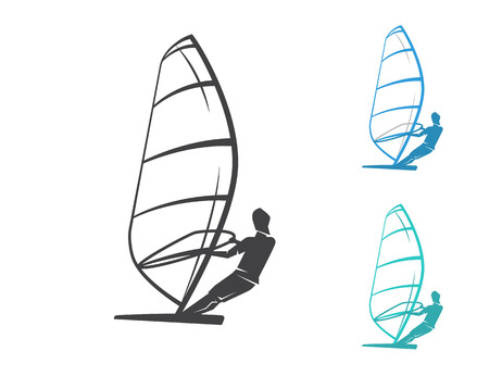 windsurf: Windsurfing contour set of three icons isolated on white