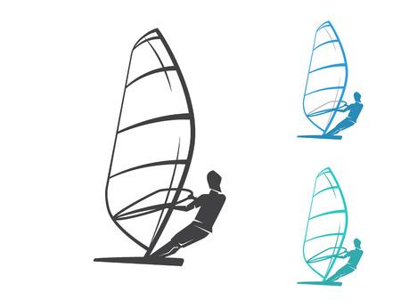 windsurf: Windsurfing contour set of three icons isolated on white
