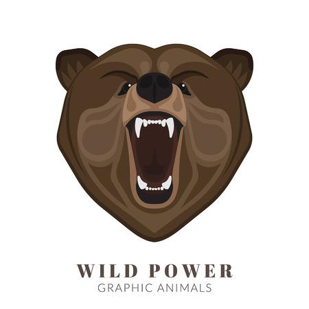 angry bear: Dise�o gr�fico de la cabeza gritando oso enojado. Texto esbozado