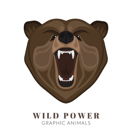 Graphic design of screaming angry bear head. Text outlined