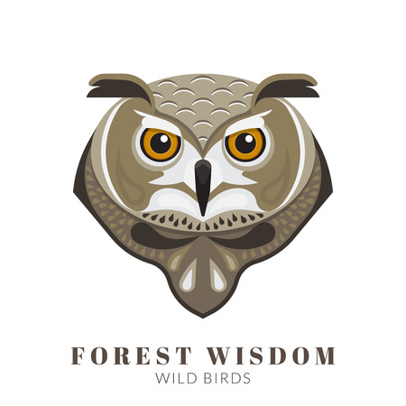 head wise: Graphic design of wise owl head. Text outlined