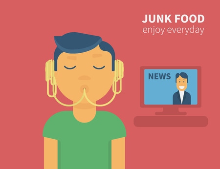 cute guy: Cute guy is eating noodles from his ears and watching tv news