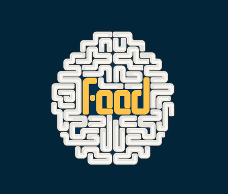 mente humana: Cerebro humano con el texto alimentos conceptual en el centro