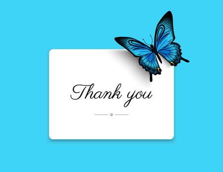 美しい青い蝶とブランク カードをいただき、ありがとうございます。説明テキスト 写真素材 - 42790353