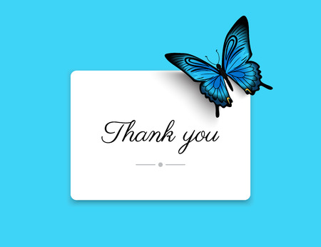 Thank you blank card with beautiful blue butterfly. Text outlined