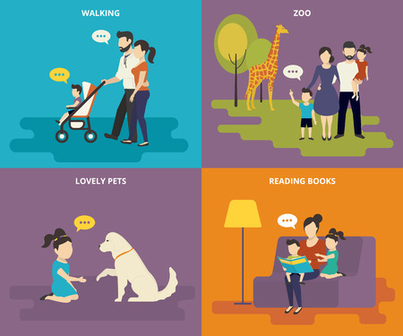 Happy parents are playing with children. Family with concept flat icons set of reading books, playing with pet, visiting zoo and walking Vectores