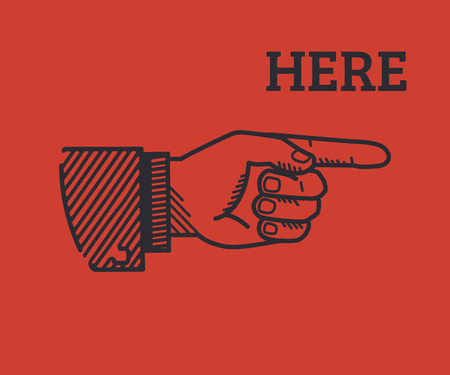 Human hand with pointing finger in retro style isolated on red background