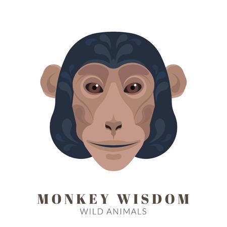 cabeza: Dise�o gr�fico de cabeza de mono con adornos decorativos