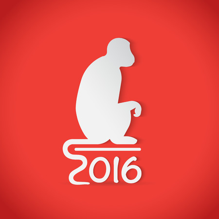 chinese ethnicity: Monkey silhouette  symbol for 2016 chinese year. Isolated on red