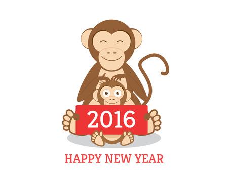 chimpances: Chimpancés divertida de la mama y el hijo con saludos del Año Nuevo banner de 2016. Aislados en blanco