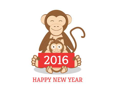 funny chimpanzees mom and son with new year greetings banner 2016 isolated on white stock