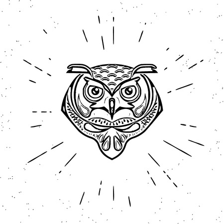 head wise: Vintage design of wise owl head on white