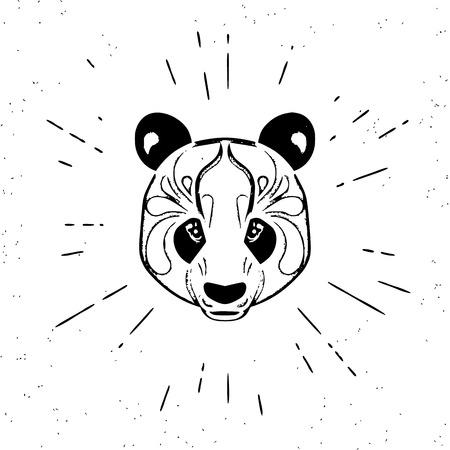 vintage design: Vintage design of cute chinese panda head on white Illustration