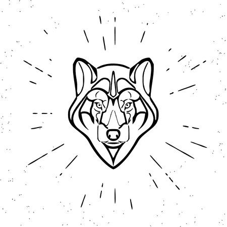 grey wolf: Vintage design of cute grey wolf head