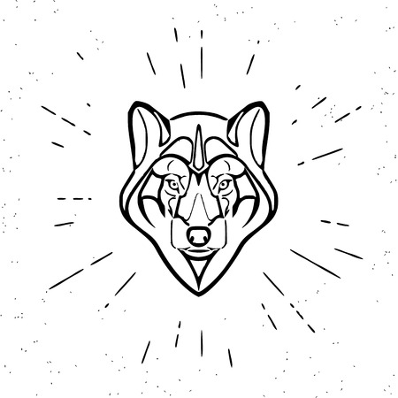 black wolf: Vintage design of cute grey wolf head