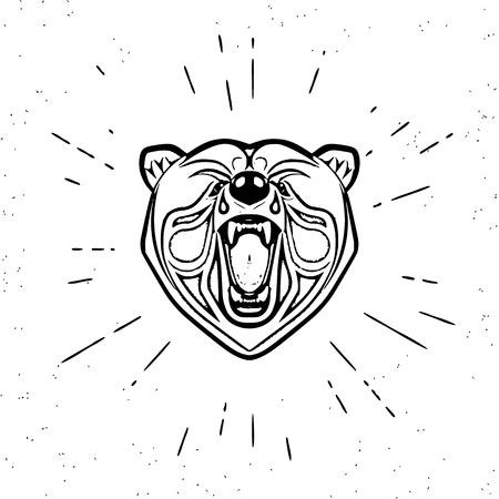 angry bear: Dise�o del vintage de la cabeza gritando oso enojado. Texto esbozado