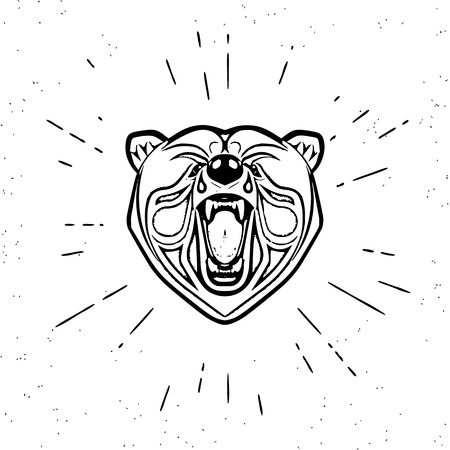 screaming head: Vintage design of screaming angry bear head. Text outlined