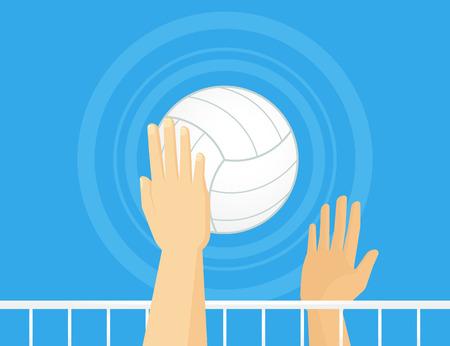 voleibol: La gente que juega a voleibol. Grosor de la línea es totalmente editable