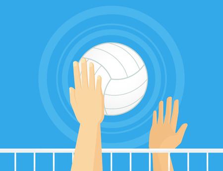 volleyball: People playing volleyball. Line thickness is fully editable