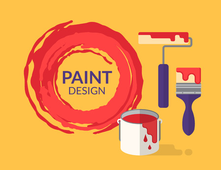 colorful paint: Paint design tools with bucket and brush isolated on yellow Illustration