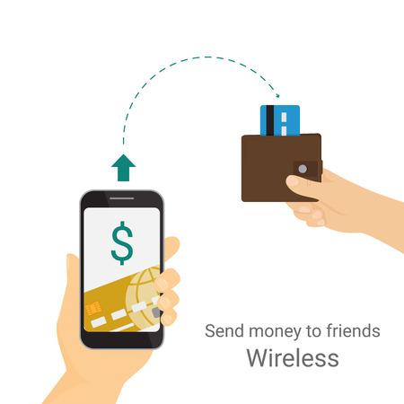 El hombre es el envío de dinero de su tarjeta de crédito a su amigo a través del teléfono móvil. Aislado en blanco Ilustración de vector