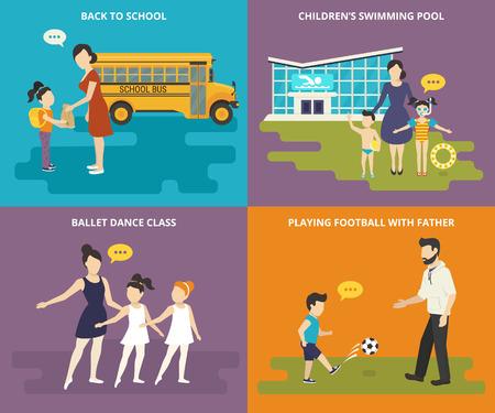Felices padres enseñan a sus hijos. Iconos planos conceptuales establecidas de ir a la escuela, visitar una piscina, bailando ballet y jugando al fútbol