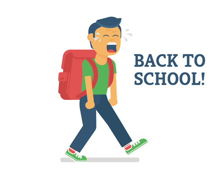 of boy: Back to school. Flat illustration of crying boy going to school