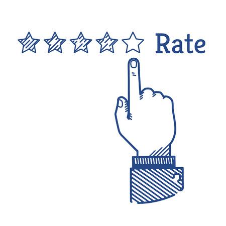 customer satisfaction: Human hand doing five stars rating. Vintage illustration Illustration