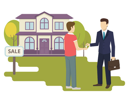 home buyer: Realtor giving a home key chain to a confident male buyer. Flat illustration