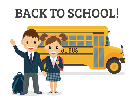 school girl uniform: Back to school illustration of two happy pupils wearing uniform and bus behind them