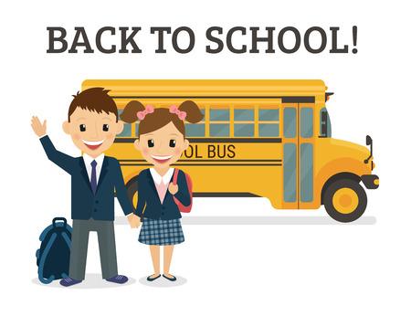 transporte escolar: Volver a la ilustración de la escuela de dos alumnos felices, vistiendo uniforme y autobús detrás de ellos