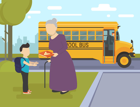 school baby: Flat illustration of grandmother giving an alphabet to her grandson and school bus behind them