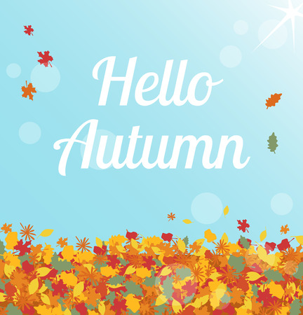 cornfield: Illustration of sunny day with hello autumn text on the blue sky Illustration