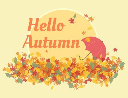 retro postcard: Hello autumn retro postcard template with yellow leafs and umbrella