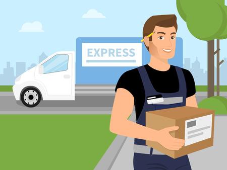 Bezorgdienst man met een doos in zijn handen en witte levering auto achter hem. Vector Illustratie