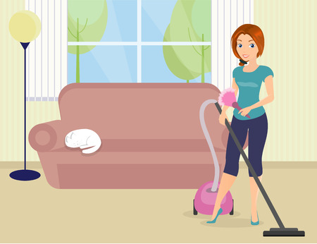 Woman is doing housework with vacuum cleaner. Illustration