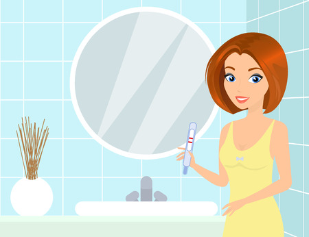 the result pregnancy test: Pretty woman in the bathroom holds a pregnancy test in her hand. Illustration