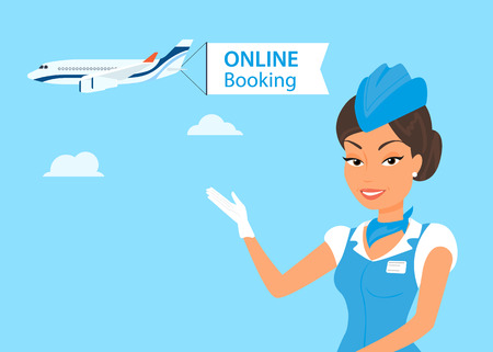 Female stewardess wearing blue suit  and airplane behind her Illustration