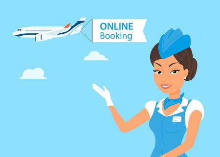 stewardess: Female stewardess wearing blue suit  and airplane behind her Illustration