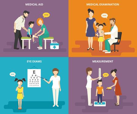 Colección de cuidado de la salud de la familia. Concepto de familia iconos planos establecidos de ayuda médica, visitar a un médico, exámenes de la vista y la medición del crecimiento Ilustración de vector