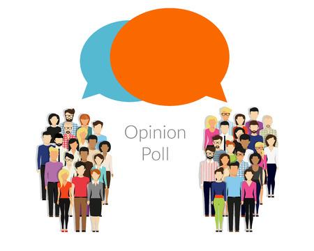 demografia: Encuesta de opinión ilustración plana de dos grupos de personas y las burbujas del discurso entre ellos