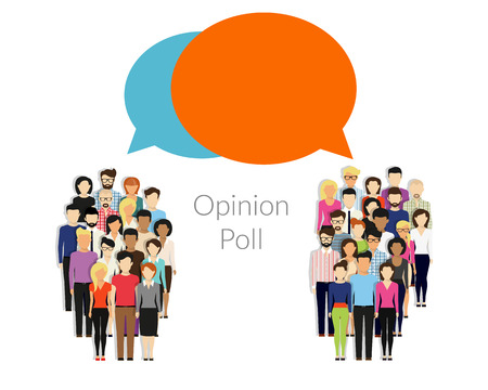 world group: Opinion poll flat illustration of two groups of people and speech bubbles between them