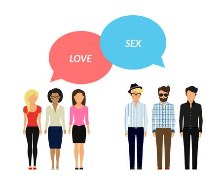 sexo: Burbujas de la nube de chat masculinos y femeninos. Mujeres sentir amor pero los hombres quieren sexo