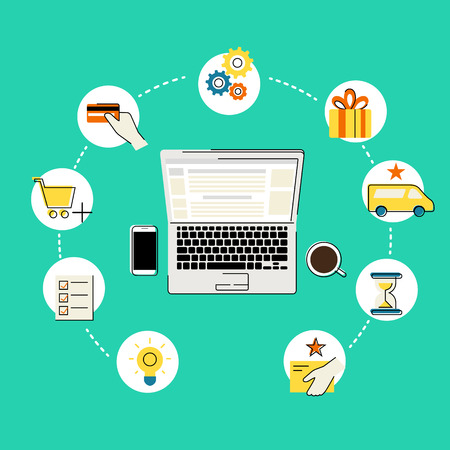 online shopping: Flat contour illustration of online shopping with laptop upper view and commercial icons