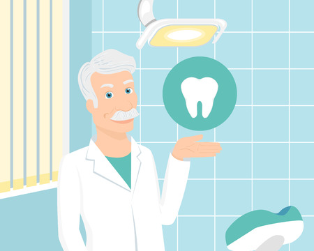 prophylaxis: Doctor wearing white uniform with tooth icon staying in the consulting room