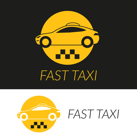 hatchback: Yellow taxi icon of hatchback car in two colors