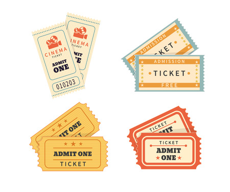 1: Retro double tickets set. Temlates for cinema and other events. Text outlined Illustration